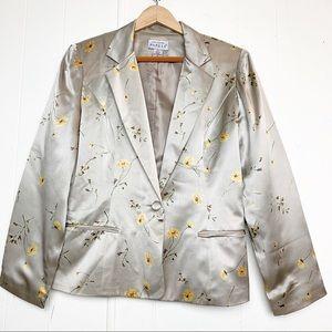 Adrianna Papell Silk Floral One Button Blazer
